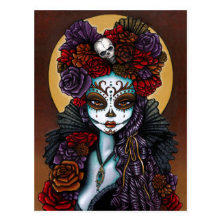 Day of the Dead Dia De Muertos Sugar Skull Dalia Postcard