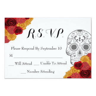 Day of the Dead Dia Los Muertos RSVP Wedding Card