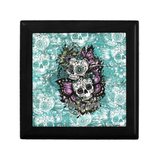 Day of the Dead floral butterfly skulls. Jewelry Box