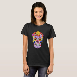 Day of the Dead-  Floral Skull T Shirt