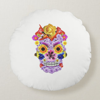 Day of the Dead- Flowers & Skull Pillow