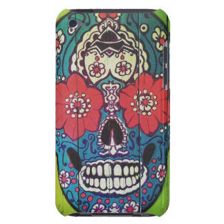 Day of the Dead Funky Blue and Green Sugar Skull Barely There iPod Cases