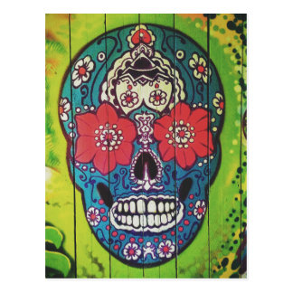 Day of the Dead Funky Blue and Green Sugar Skull Postcard