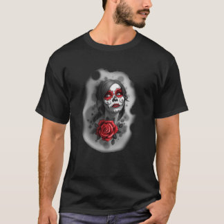 Day of the Dead Girl Red Makeup and Rose Sketch T-Shirt