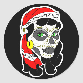 Day of the dead girl round sticker