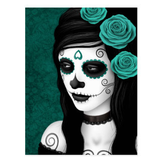 Day of the Dead Girl with Teal Blue Roses Postcard