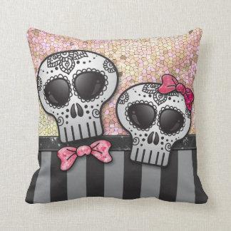 Day of The Dead Glitter Sugar Skulls Pirate Stripe Throw Pillow