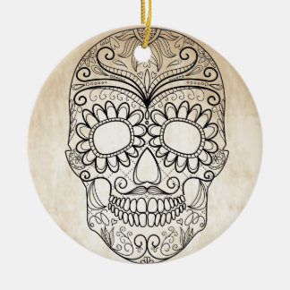 Day Of The Dead Grungy Skull Ceramic Ornament