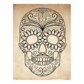 Day Of The Dead Grungy Skull Postcard