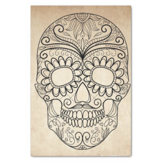Day Of The Dead Grungy Skull Tissue Paper