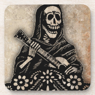Day of the Dead Guitar Playing Skeleton Beverage Coasters