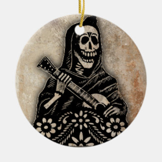 Day of the Dead Guitar Playing Skeleton Round Ceramic Ornament