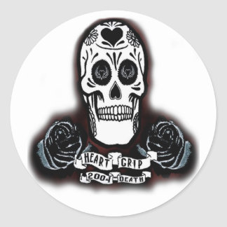day of the dead hrtgrp classic round sticker