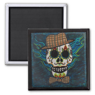 DAY of the DEAD Man Skull Square Magnet