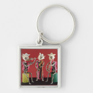 Day of the Dead: Mariachi, from Oaxaca Silver-Colored Square Keychain