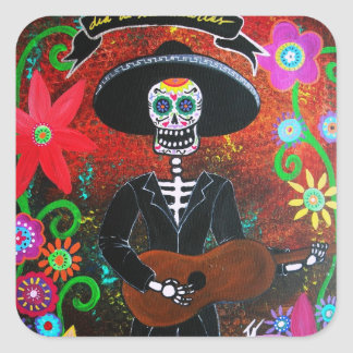 day of the dead mariachi square sticker