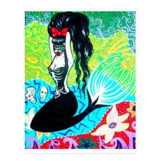 Day of the Dead Mermaid Art Postcard