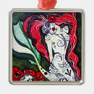Day of the Dead Mermaid HEART Silver-Colored Square Ornament