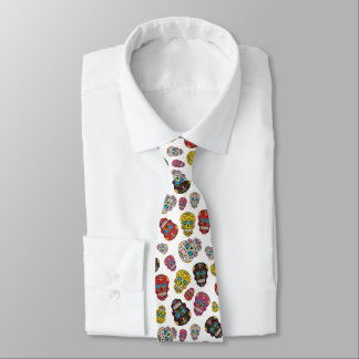 Day of the Dead Mexican Colorful Sugar Skull Tie