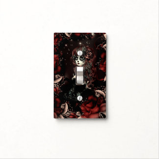 Day of the Dead Mexican Girl Red Black Roses Light Switch Cover