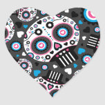 Day of the Dead Mexican Skull Pattern Heart Sticker