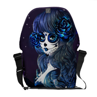Day of the Dead Mexican Sugar Skull Girl Blue Courier Bag