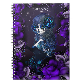 Day of the Dead Mexican Sugar Skull Girl Blue Notebook