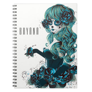 Day of the Dead Mexican Sugar Skull Girl Custom Spiral Notebook