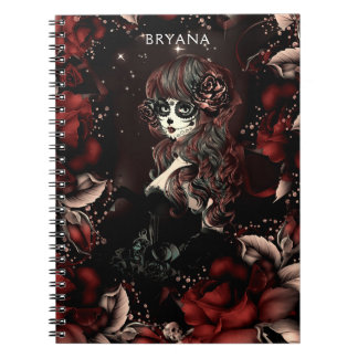 Day of the Dead Mexican Sugar Skull Girl Red Roses Notebooks
