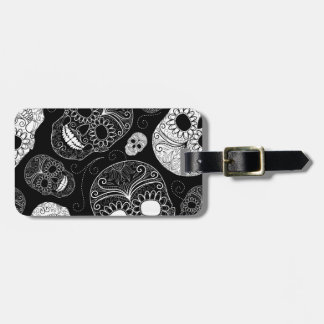 Day of the Dead Mosaic Art Black & White Bag Tag