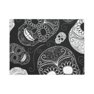 Day of the Dead Mosaic Art Black & White Doormat