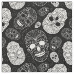Day of the Dead Mosaic Art Black & White Fabric
