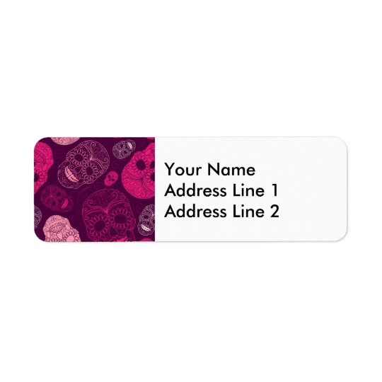 Day of the Dead Mosaic Art Pink & Purple Return Address Label