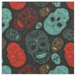 Day of the Dead Mosaic Art Red & Blue Fabric
