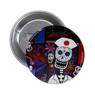 DAY OF THE DEAD NURSE 2 INCH ROUND BUTTON