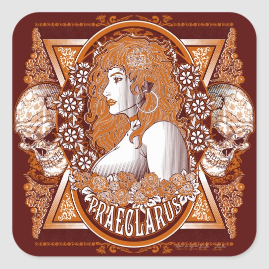 Day of the Dead orange and white lady with skulls Square Sticker
