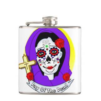Day of The Dead Painted Lady Scrolls Roses Graphic Hip Flask