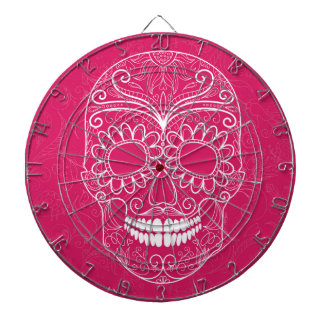 Day of the Dead Pink Skull Dartboard