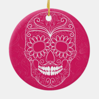 Day of the Dead Pink Skull Round Ceramic Ornament