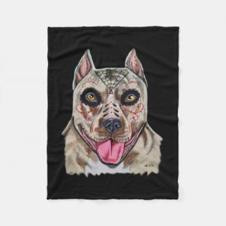 Day of the Dead Pitbull Fleece Blanket