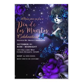 Day of the Dead Purple Blue Dia de los Muertos Card