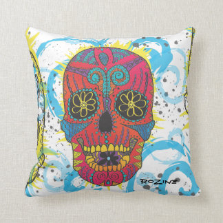 Day of The Dead Rainbow Skull Daisy Tribal Tattoo Throw Pillow
