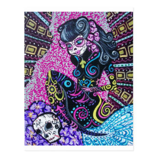 Day of the Dead Retro Mermaid Postcard