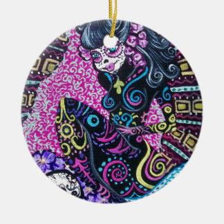 Day of the Dead Retro Mermaid Round Ceramic Ornament