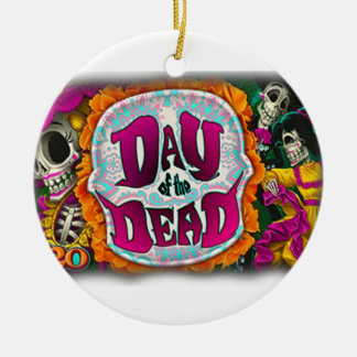 Day of the Dead Round Ceramic Ornament