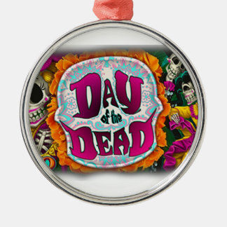 Day of the Dead Silver-Colored Round Ornament