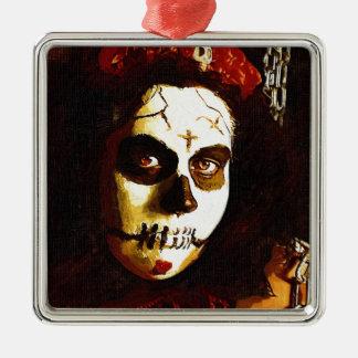 Day of the Dead Silver-Colored Square Ornament