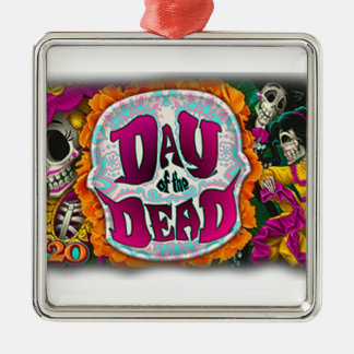 Day of the Dead Silver-Colored Square Ornament
