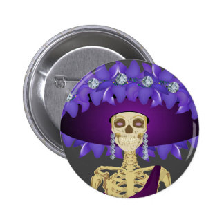 Day of the Dead Skeleton Doll in Purple 2 Inch Round Button