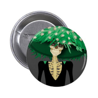 Day of the Dead Skeleton with Large Flower Hat 2 Inch Round Button